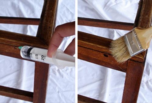 Aplicação do produto para tratar a madeira